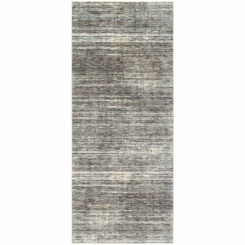 """3'3"""" x 10' Distressed Finished Blue and Beige Area Throw Rug Runner - IMAGE 1"""