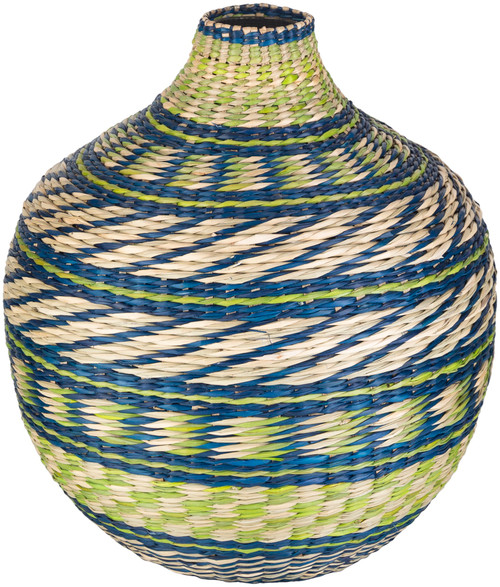 """16.75"""" Blue and Green Decorative Table Accent Bamboo Vase - IMAGE 1"""