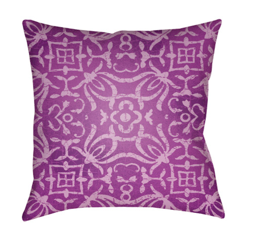"18"" Purple and Ivory Digitally Printed Square Throw Pillow Cover - IMAGE 1"