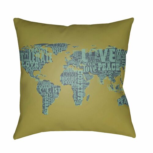 "22"" Olive Green and Blue World Map Digitally Printed Square Throw Pillow Cover - IMAGE 1"