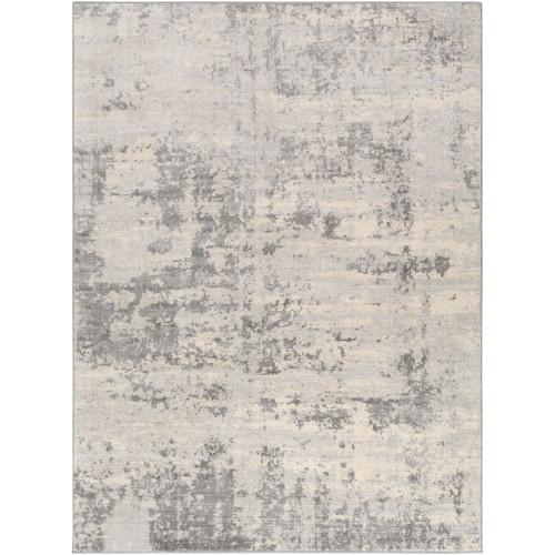 4.25' x 5.9' Distressed Gray and Cream Rectangular Area Throw Rug - IMAGE 1