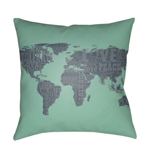 "22"" Fern Green and Black World Map Digitally Printed Square Throw Pillow Cover - IMAGE 1"