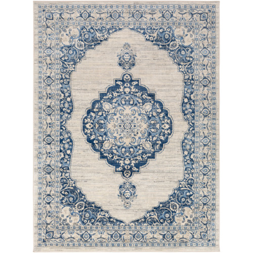 4.25' x 5.9' Silver Gray and Blue Rectangular Area Throw Rug - IMAGE 1