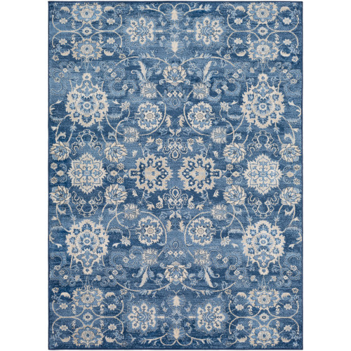 4.25' x 5.9' Floral Blue and Gray Rectangular Area Throw Rug - IMAGE 1