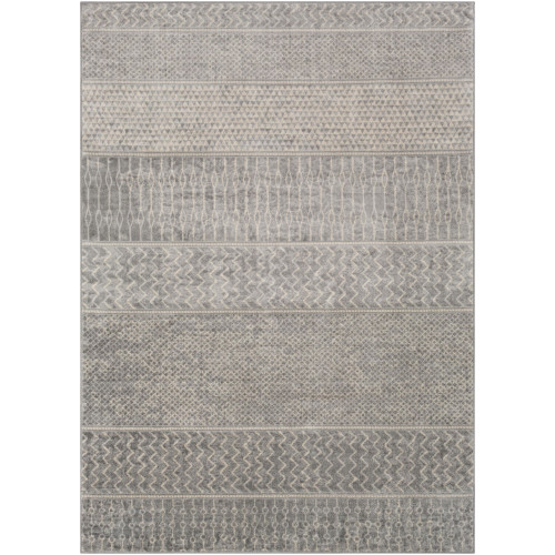 4.25' x 5.9' Contemporary Patterned Gray and Ivory Rectangular Area Throw Rug - IMAGE 1