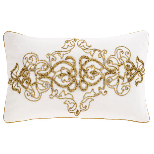 """20"""" White with Gold Beads Traditional Rectangular Throw Pillow - Poly Filled - IMAGE 1"""