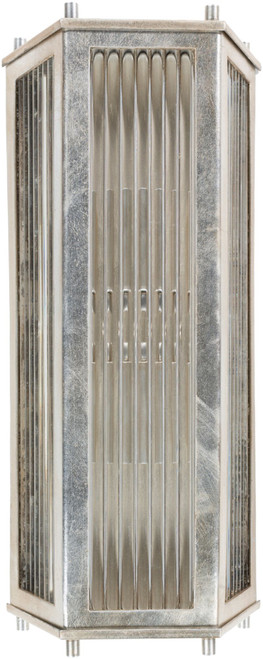 """14.5"""" Silver Colored Distressed Finish Lighted Glass Wall Sconce - IMAGE 1"""