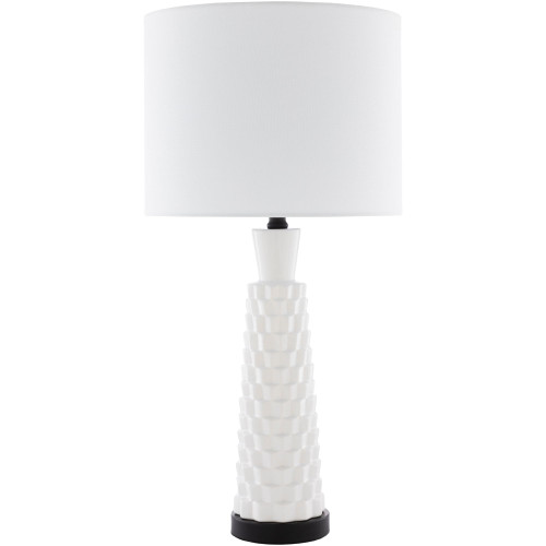 """27"""" Contemporary Style White and Black Table Lamp with Drum Shade - IMAGE 1"""