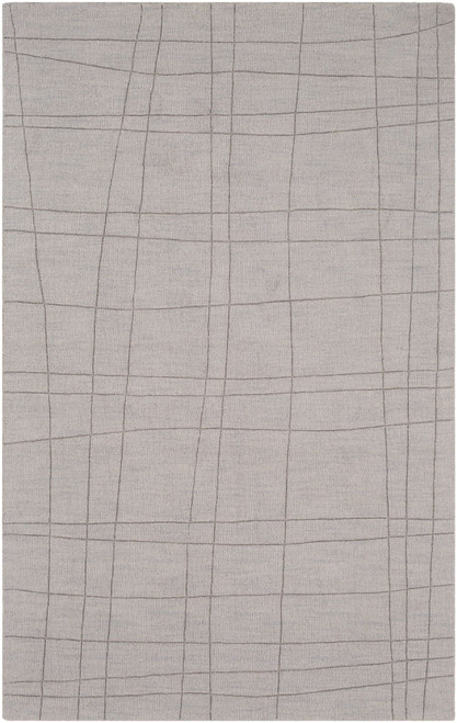 5' x 8' Windowpane Patterned Gray Rectangular Area Throw Rug - IMAGE 1
