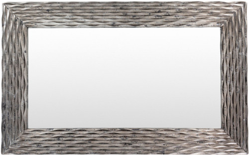 """45.25"""" Silver Colored Wooden Frame Rectangular Shaped Wall Mirror - IMAGE 1"""
