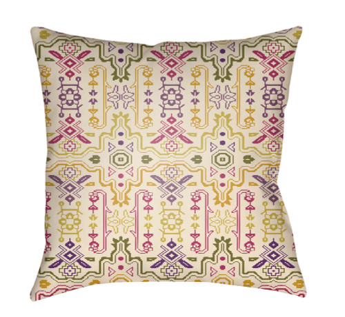"""18"""" Green and Pink Digitally Printed Square Throw Pillow Cover - IMAGE 1"""