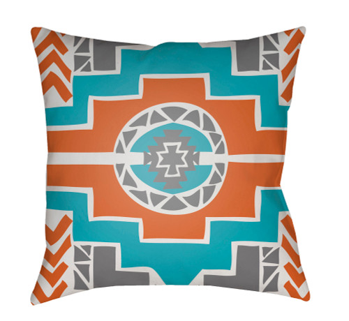 """18"""" Orange and Gray Digitally Printed Square Throw Pillow Cover - IMAGE 1"""