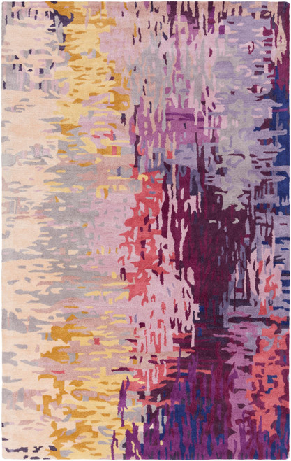 6' x 9' Contemporary Style Purple and Yellow Rectangular Area Throw Rug - IMAGE 1
