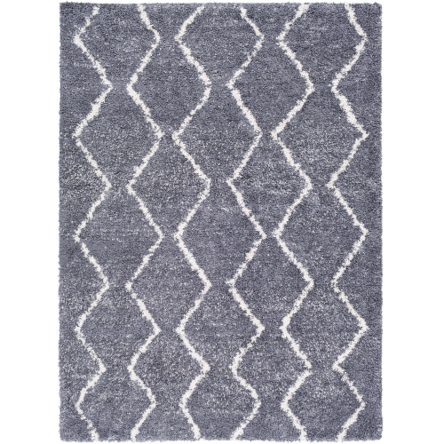 """6'7"""" x 9' Reversible Pattern Gray and White Rectangular Area Rug - IMAGE 1"""