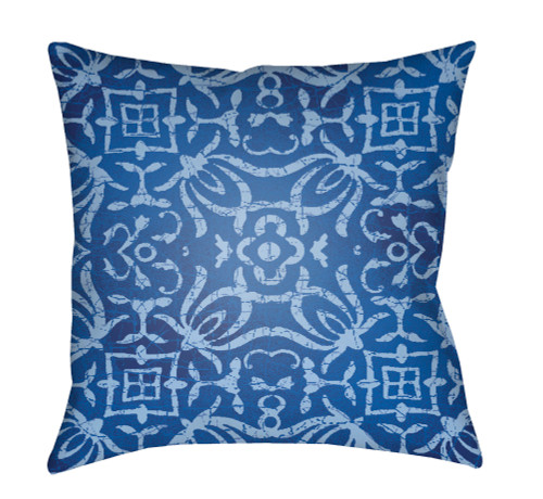 """18"""" Blue and White Digitally Printed Square Throw Pillow Cover - IMAGE 1"""