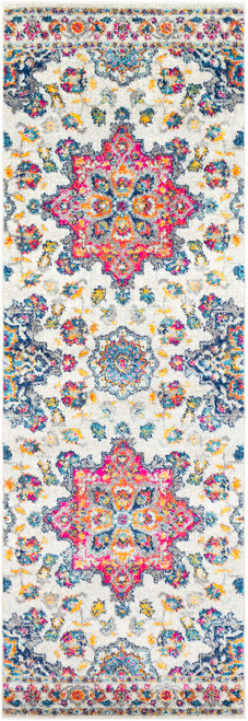 2.5' x 7.5' Floral Pink and Ivory Rectangular Area Throw Rug Runner - IMAGE 1