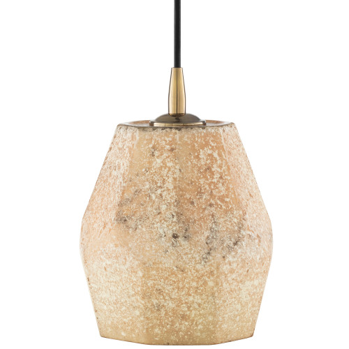 "8"" Beige and Brown Geometric Hanging Pendant Ceiling Light Fixture - IMAGE 1"