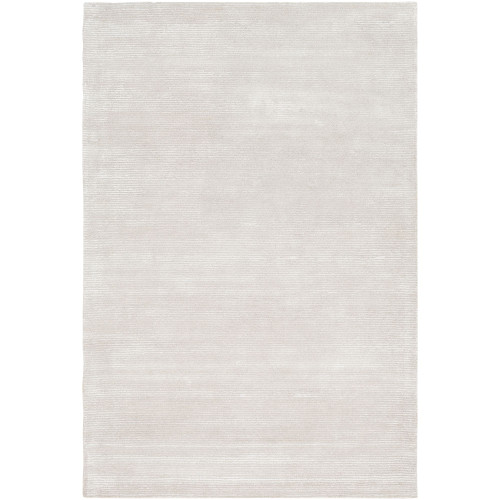 4' x 6' Solid Ivory and Gray Hand Tufted Rectangular Area Throw Rug - IMAGE 1