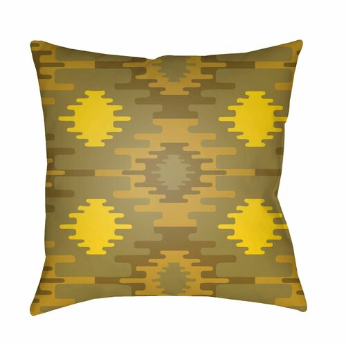 "18"" Olive Green and Yellow Digitally Printed Square Throw Pillow Cover - IMAGE 1"