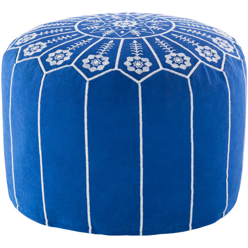 """20"""" Blue and White Floral Round Pouf Ottoman - IMAGE 1"""