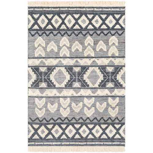 5' x 7.5' Geometric Patterned Gray and Beige Hand Woven Rectangular Area Throw Rug - IMAGE 1