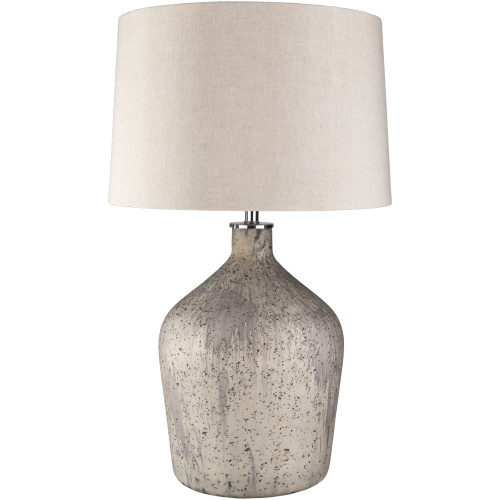 "30.25"" Ivory and Gray Rustic Finished Table Lamp with Linen Shade - IMAGE 1"