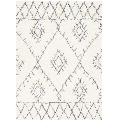 """6'7"""" x 9' Distressed Finished Diamond Pattern White and Gray Rectangular Area Rug - IMAGE 1"""