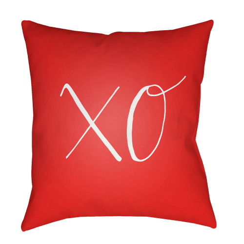"""18"""" Red and White """"XO"""" Woven Square Throw Pillow Cover - IMAGE 1"""