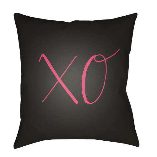 """18"""" Black and Pink """"XO"""" Woven Square Throw Pillow Cover - IMAGE 1"""