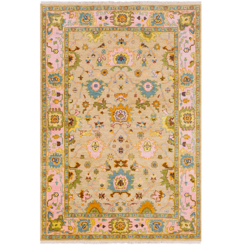 2' x 3' Seamless Pattern Light Brown and Pink Rectangular Area Rug - IMAGE 1