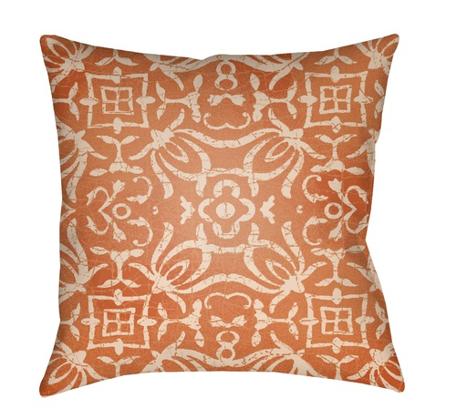 "18"" Bright Orange and Ivory Digitally Printed Square Throw Pillow Cover - IMAGE 1"