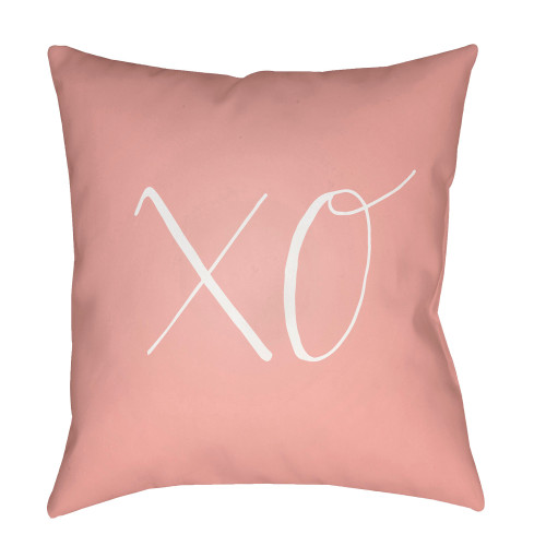 """18"""" Pink and White """"XO"""" Woven Square Throw Pillow Cover - IMAGE 1"""