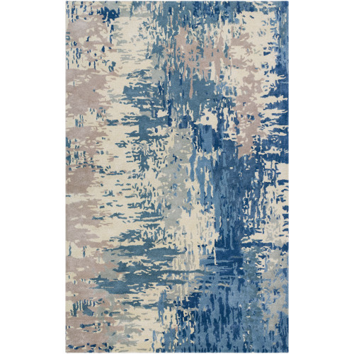 6' x 9' Abstract Blue and Beige Rectangular Area Throw Rug - IMAGE 1