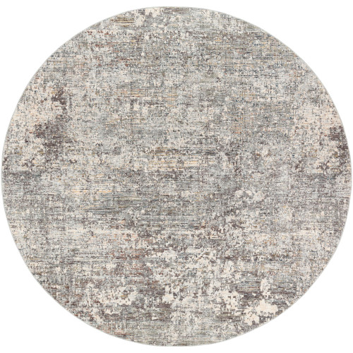 7.8' Distressed Finish Gray and Beige Round Area Throw Rug - IMAGE 1