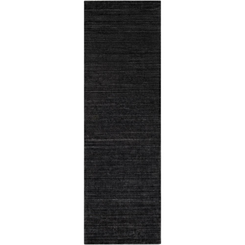 2.5' x 8' Solid Black Hand Knotted Rectangular Area Throw Rug Runner - IMAGE 1