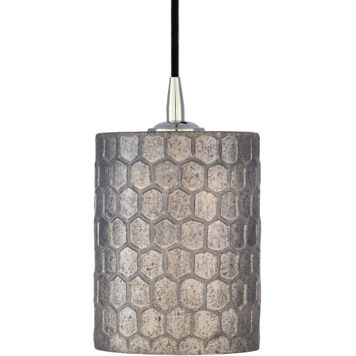 "8"" Taupe Antiqued Polished Honeycomb Patterned Hanging Pendant Ceiling Light Fixture - IMAGE 1"