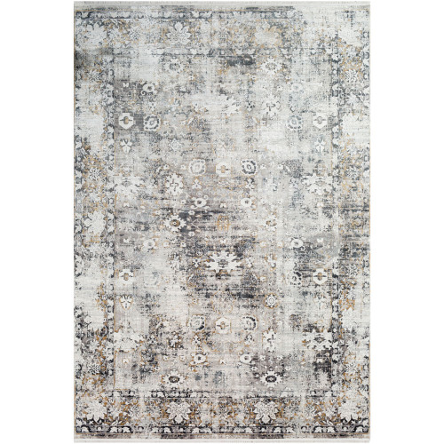 3' x 9.8' Distressed Finish Charcoal Gray and White Rectangular Area Throw Rug Runner - IMAGE 1