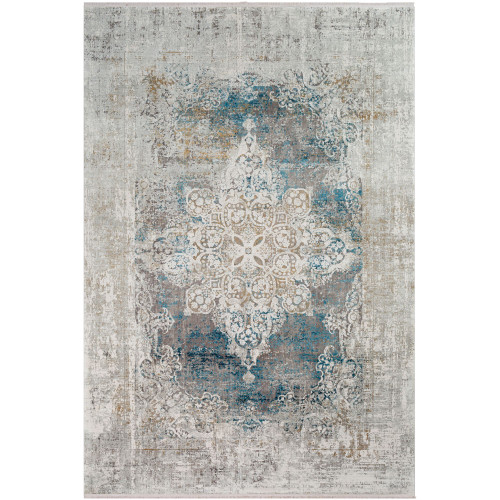 3' x 9.8' Distressed Finish Blue and Gray Rectangular Area Throw Rug Runner - IMAGE 1