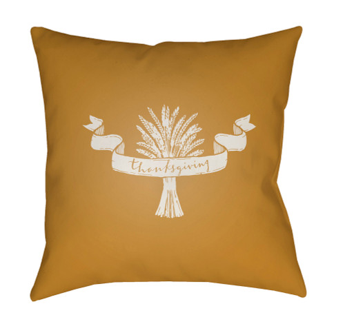 """18"""" Mustard Yellow and White Thanksgiving Square Throw Pillow Cover - IMAGE 1"""
