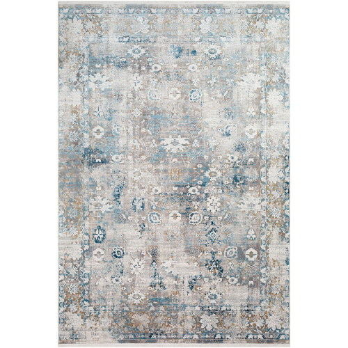 3' x 9.8' Distressed Finish Sky Blue and Gray Rectangular Area Throw Rug Runner - IMAGE 1