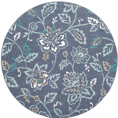"""8'9"""" Floral Design Blue and Green Round Machine Woven Area Rug - IMAGE 1"""