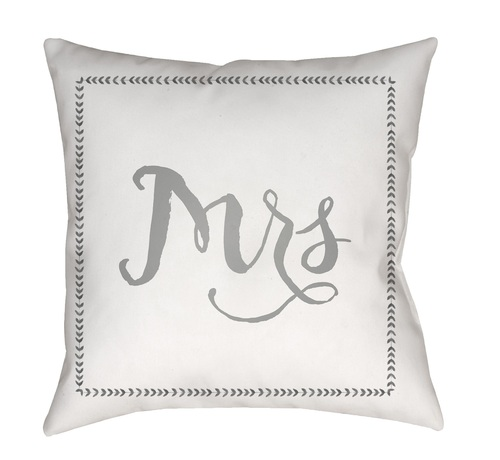 """18"""" White and Gray """"Mrs"""" Printed Square Throw Pillow Cover with Knife Edge - IMAGE 1"""