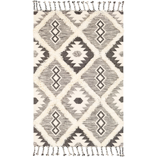 2.5' x 8' Cream White and Black Geometric Patterned Rectangular Area Throw Rug Runner - IMAGE 1