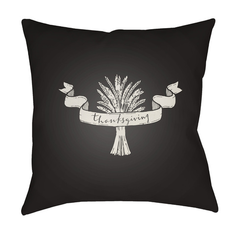 """18"""" Black and White Thanksgiving Square Throw Pillow Cover - IMAGE 1"""