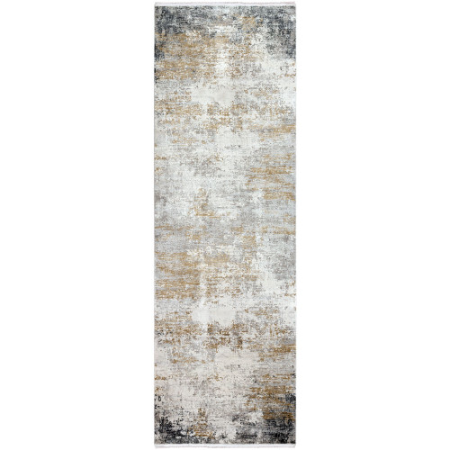 3' x 9.8' Distressed Finish Gray and Taupe Rectangular Area Throw Rug Runner - IMAGE 1