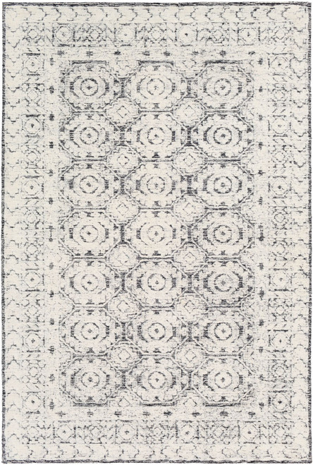 5' x 7.5' Hexagon Patterned Gray and White Rectangular Area Throw Rug - IMAGE 1