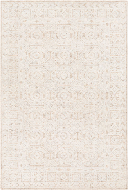 5' x 7.5' Hexagon Patterned Brown and White Rectangular Area Throw Rug - IMAGE 1