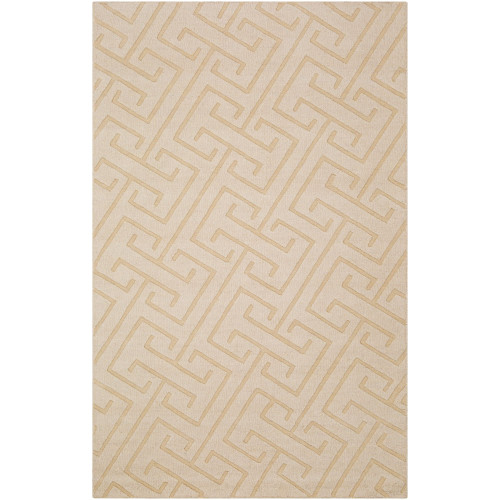 8' x 11' Geometric Cream White Rectangular Area Throw Rug - IMAGE 1