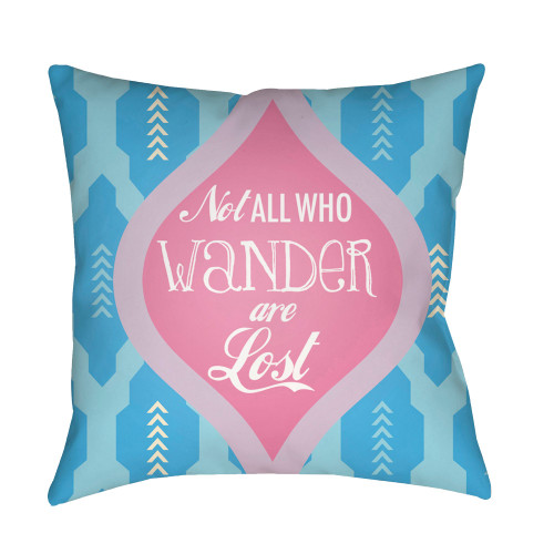 "18"" Sky Blue and Bright Pink Square Throw Pillow Cover with Knife Edge - IMAGE 1"