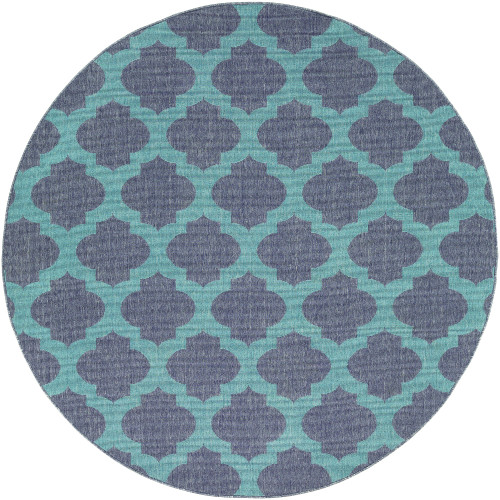"""8'9"""" Trellis Pattern Gray and Teal Round Olefin Area Throw Rug - IMAGE 1"""